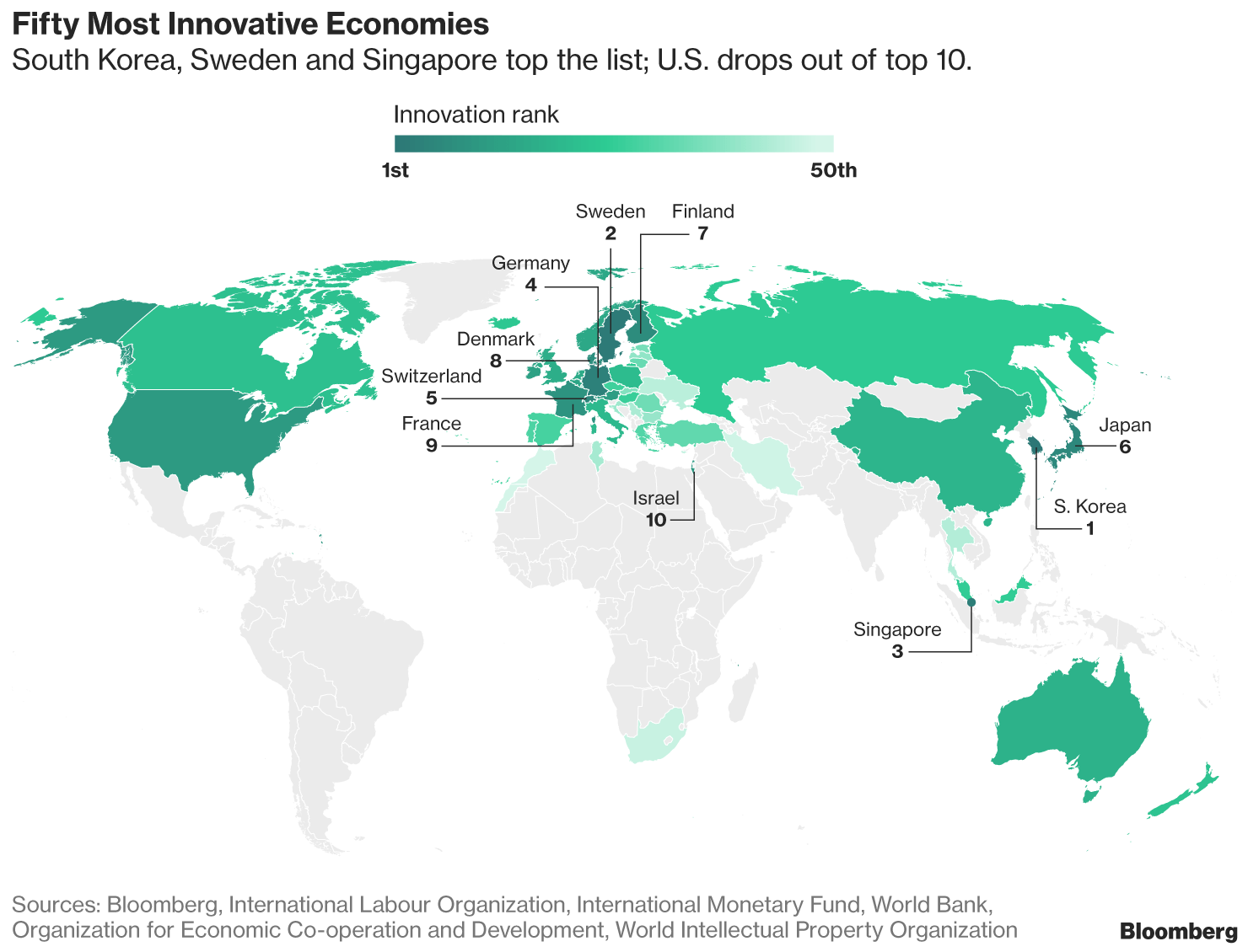 Austria achieved 12th place on Bloomberg's 2018 Innovation Index